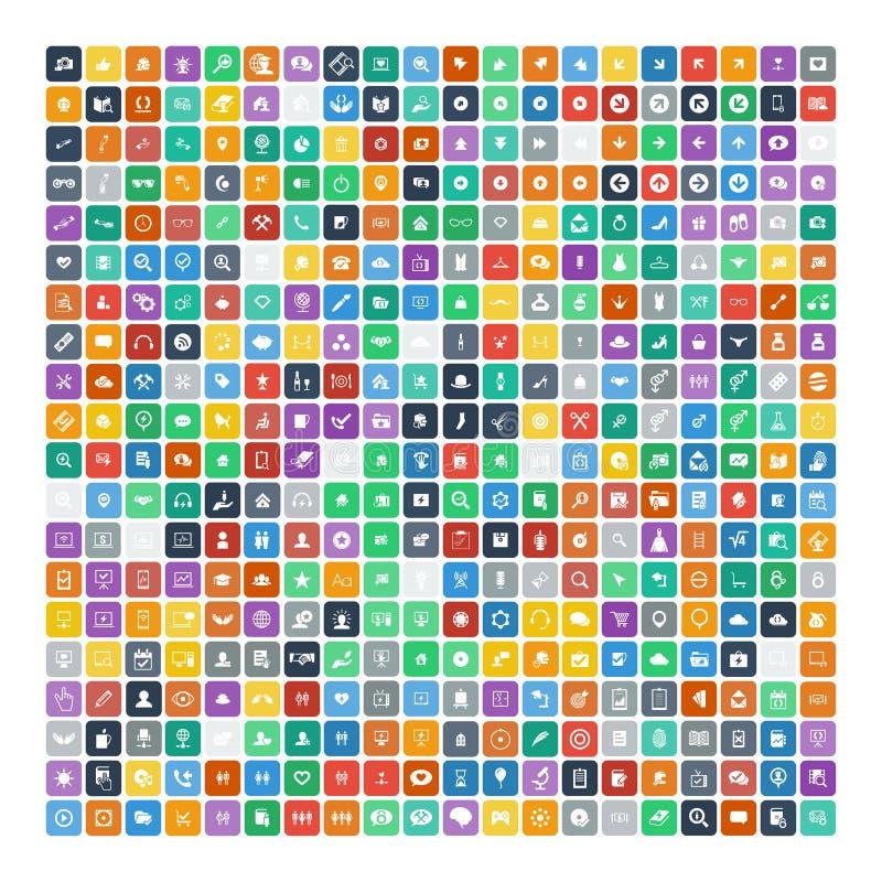 Reeks van 200 Universele Pictogrammen Zaken, Internet, Webontwerp stock illustratie