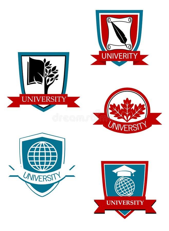 Reeks van universiteit en hogeschool royalty-vrije illustratie