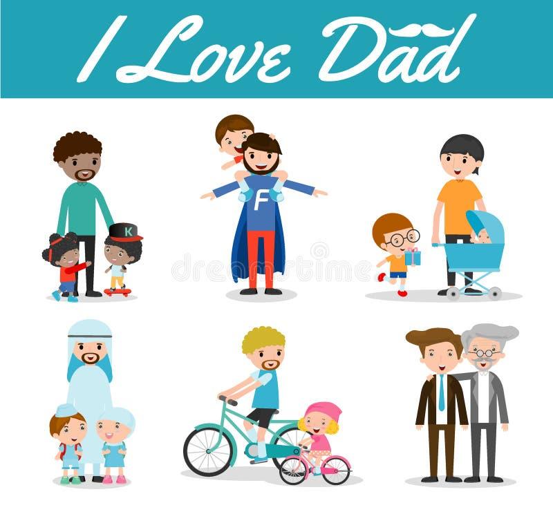 Reeks van vader en Kind op witte achtergrond, houd ik van papa, Gelukkige vaderdag, vader en kind, vader met jong geitje Vectoril stock illustratie