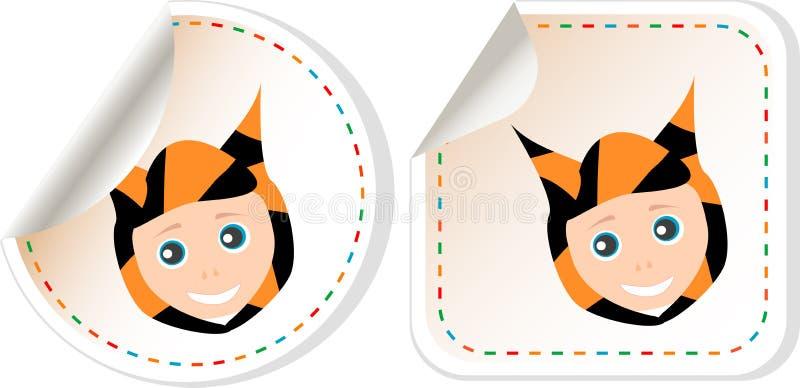 Reeks van van de de babyjongen van de beeldverhaalglimlach de uitnodigingskaart royalty-vrije illustratie