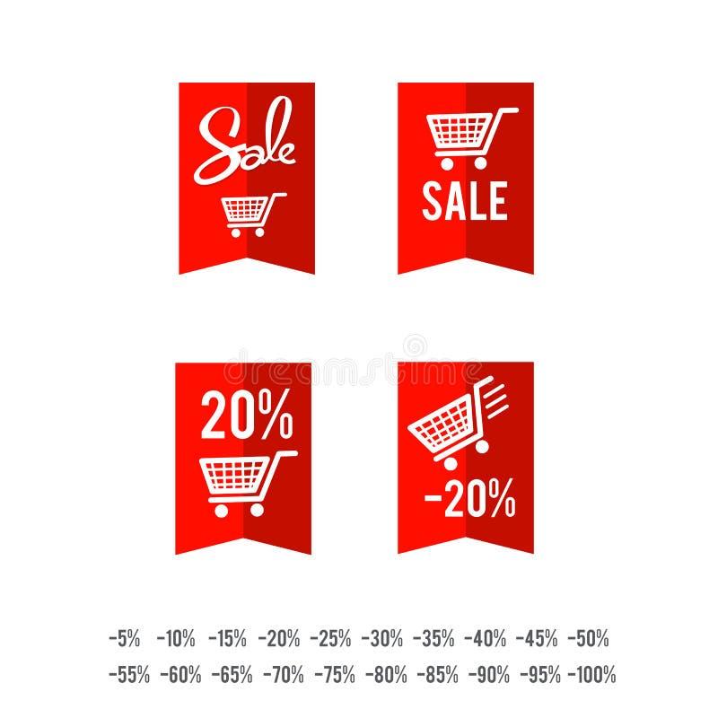 Reeks van van de de cirkelbanner van de verkoopmarkering het lintdocument - vectorillustratie royalty-vrije illustratie