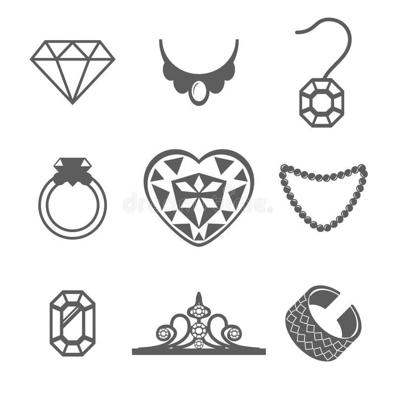 Reeks van van de de ringsgem van Juwelenpictogrammen de halsbandvector royalty-vrije illustratie