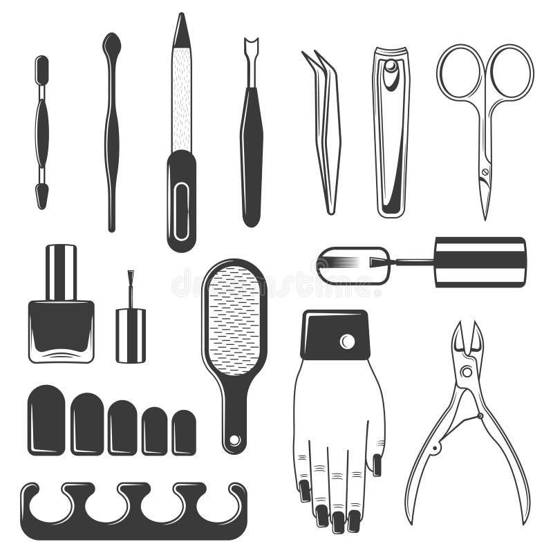 Reeks van van de materiaalmanicure en pedicure uitrusting stock illustratie