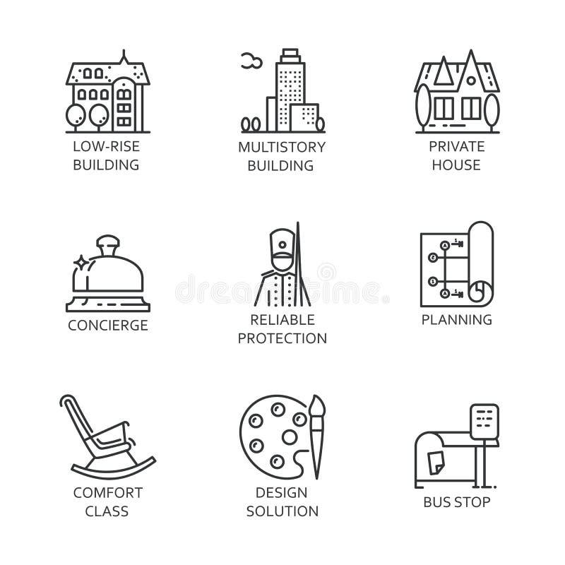 Reeks van van de negen pictogramstad en dienst concept Stedelijke symbolen vector illustratie