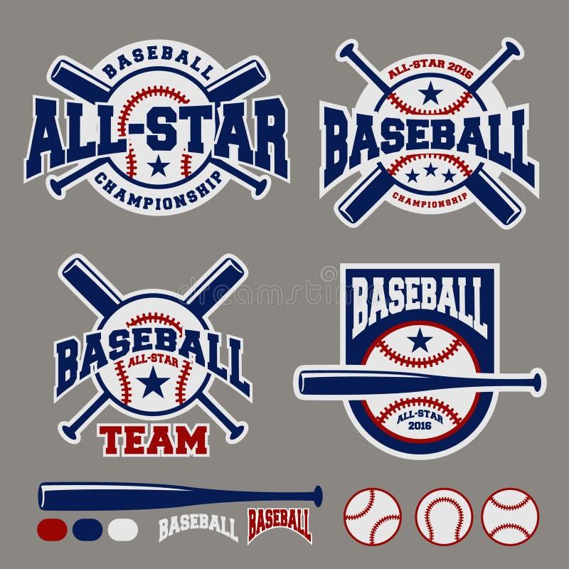 Reeks van van het het kentekenembleem van de honkbalsport het ontwerpmalplaatje royalty-vrije illustratie