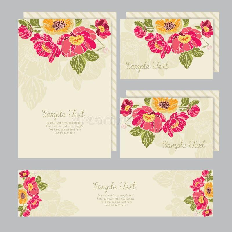Reeks van van huwelijksuitnodigingen en aankondigingen kaart stock illustratie