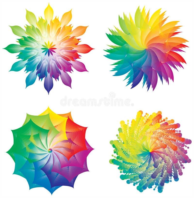 Reeks van van Kleurenwielen/Cirkels/Bloemen Regenboogkleuren vector illustratie