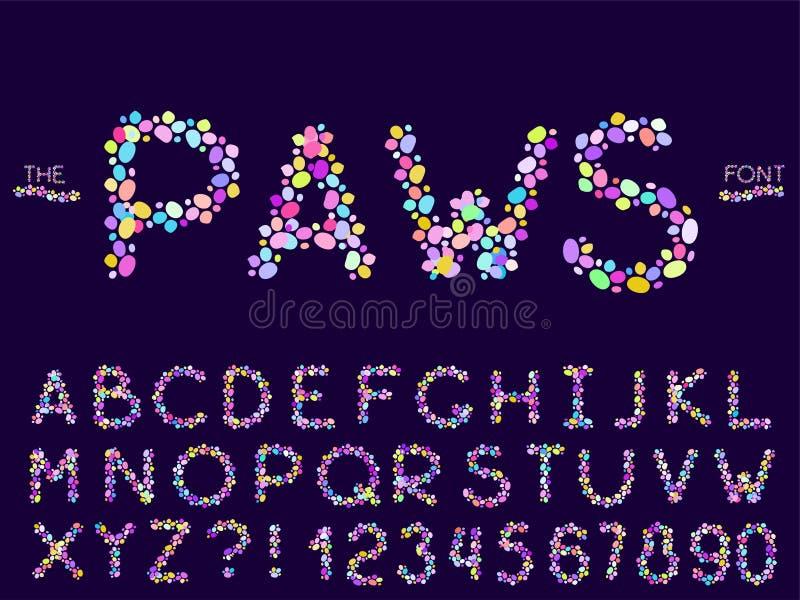 Reeks van vector abstract doopvont en alfabet stock illustratie