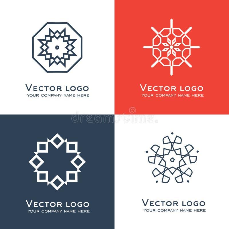 Reeks van vector abstract geometrisch embleem Keltische, Arabische stijl Heilig meetkundepictogram Identiteitsontwerp vector illustratie