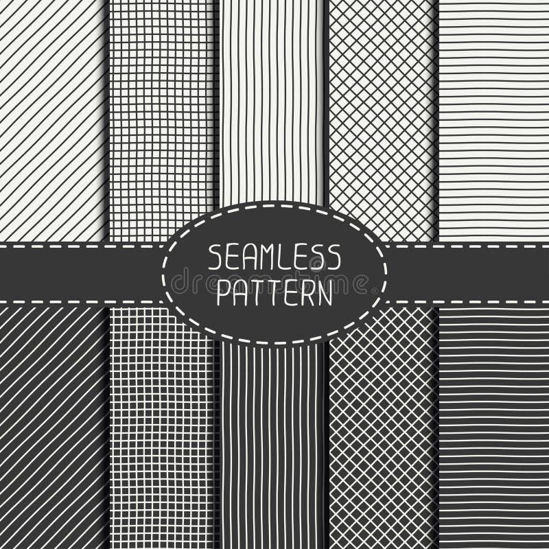 Reeks van vector abstract naadloos patroon van hand vector illustratie