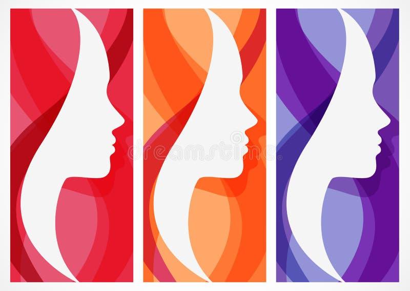 Reeks van vector abstracte achtergrond met het gezichtssilhouet van de vrouw royalty-vrije illustratie