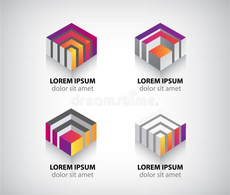 Reeks van vector abstracte kleurrijke geometrische 3d kubus royalty-vrije illustratie