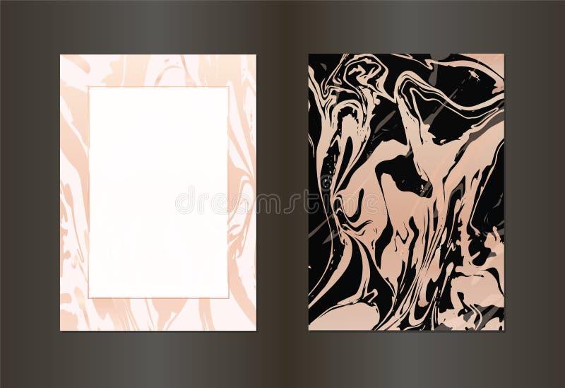 Reeks van vector elegante zwarte en gouden brochure, de kaart van de huwelijksuitnodiging, achtergrond, dekking Ontwerpsjabloon m royalty-vrije illustratie
