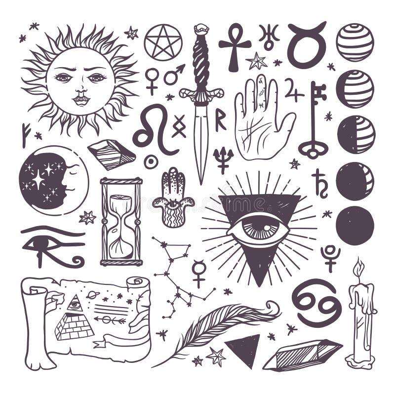 Reeks van in vector esoterische getrokken de schetshand van de symboleninzameling stock illustratie