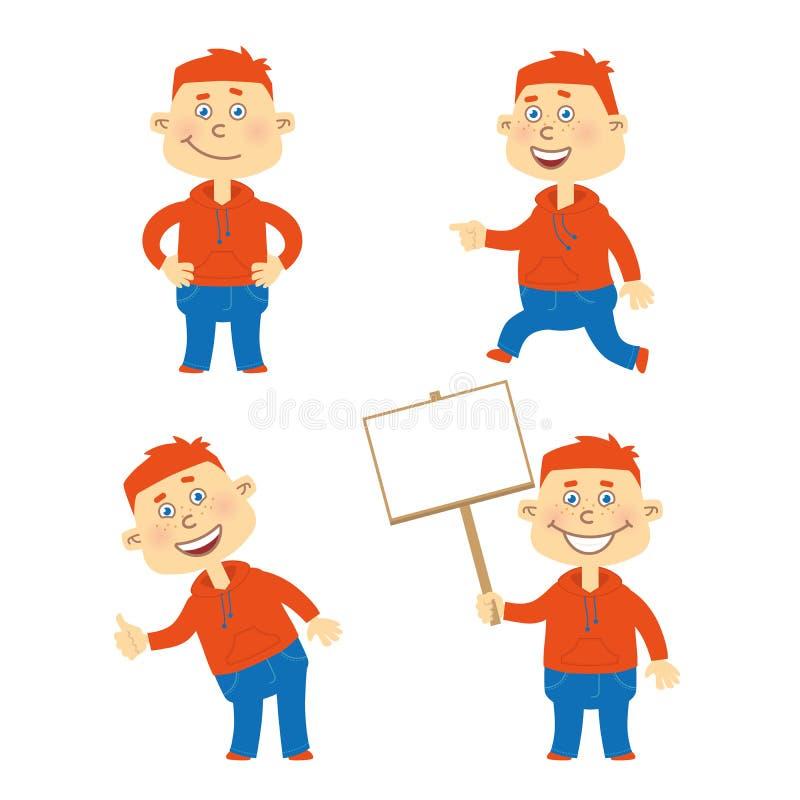 Reeks van vector gelukkig studentenkarakter stock afbeelding