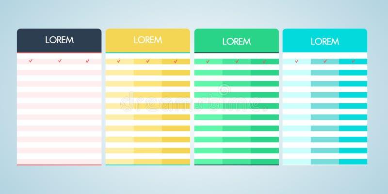 Reeks van vector het tarief lijst in vlak ontwerp vector illustratie