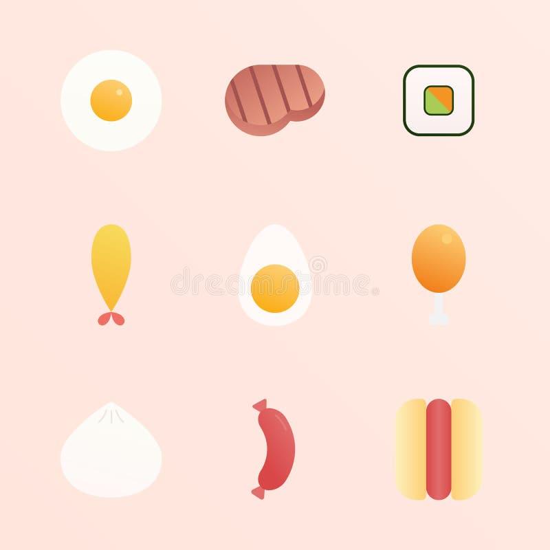Reeks van Vector van het Voedsel de Vlakke Ontwerp stock illustratie