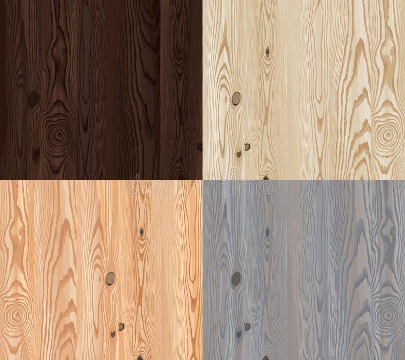 Reeks van vector houten textuur met natuurlijk patroon royalty-vrije illustratie