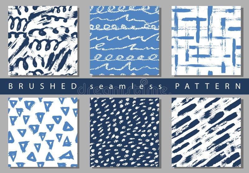 Reeks van Vector kleurrijk naadloos patroon met borstelslagen en punten Blauwe kleur op wit Hand geschilderd landhuis als achterg vector illustratie