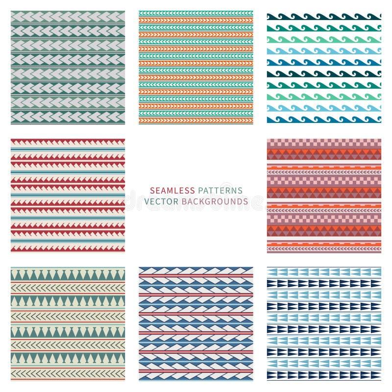 Reeks van vector naadloos patroon in boho, etnische, maori tatoegeringsstijl Gekleurde geometrische eenvoudige grens vector illustratie