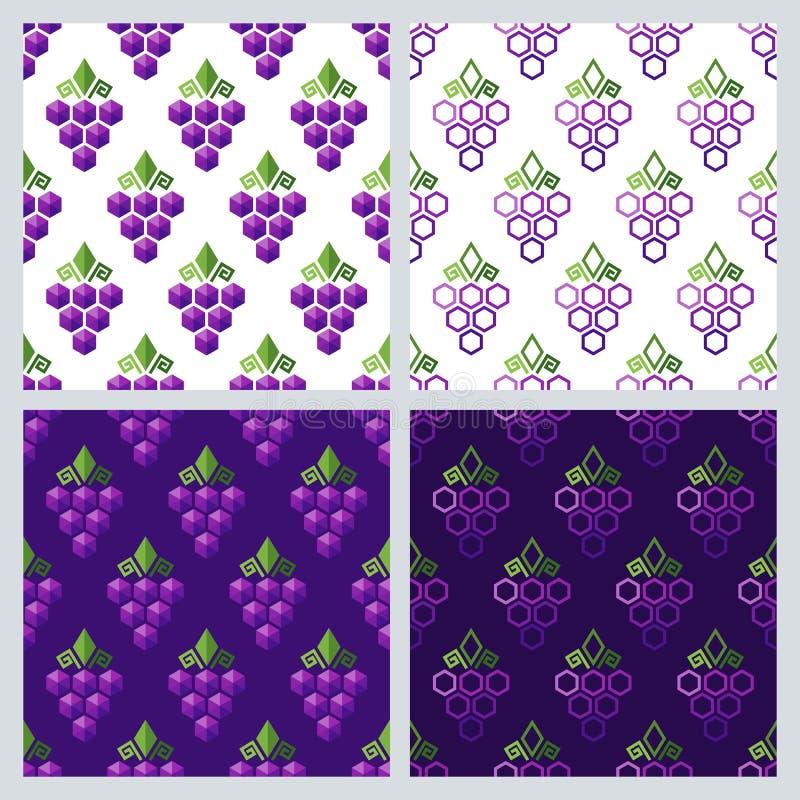 Reeks van vector naadloos patroon met druiven Vlakke achtergrond met druif stock illustratie