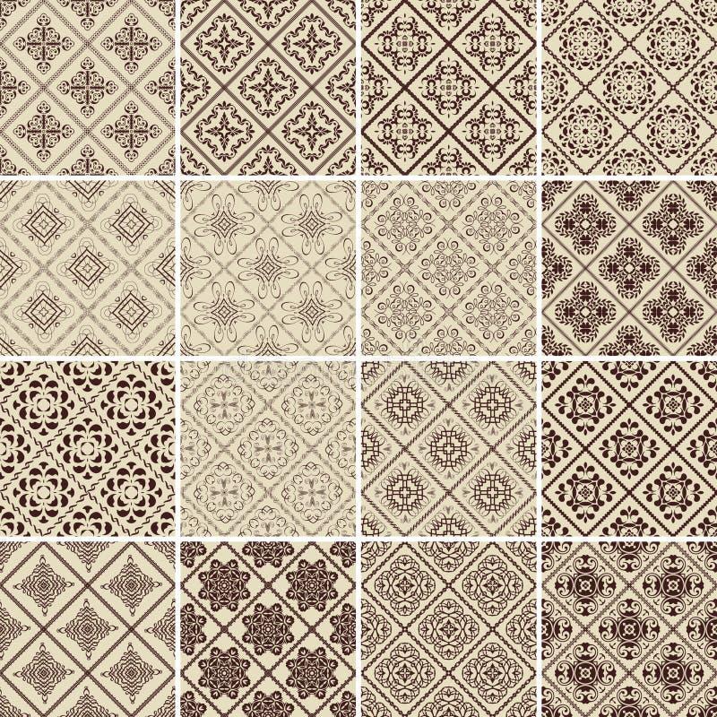 Reeks van 16 vector uitstekende naadloze patronen. royalty-vrije illustratie