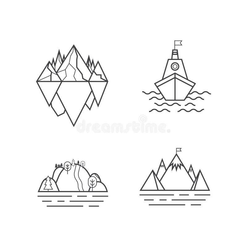 Reeks van vectorberg en openluchtavonturenembleem Toerisme, wandelings en het kamperen etiketten Bergen en reispictogrammen voor royalty-vrije illustratie