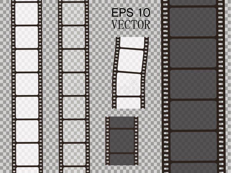 Reeks van vectordiefilmstrook op transparante achtergrond wordt geïsoleerd royalty-vrije illustratie