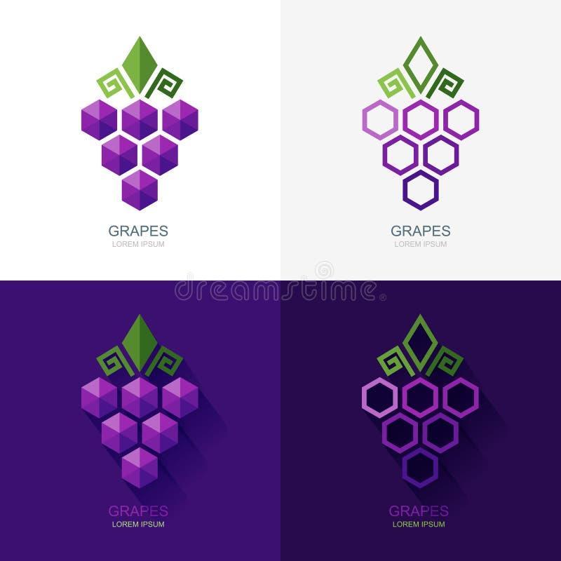 Reeks van vectordruivenembleem, pictogram, etiketelementen royalty-vrije illustratie
