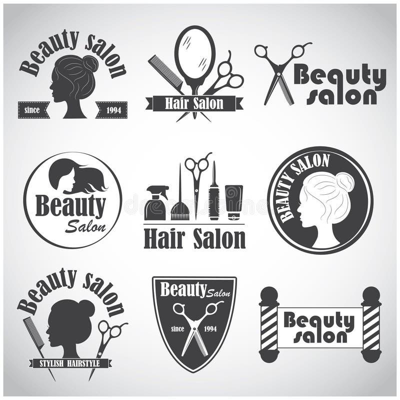 Reeks van vectorembleem, etiket, kenteken, emblemen voor kapper` s salon vector illustratie