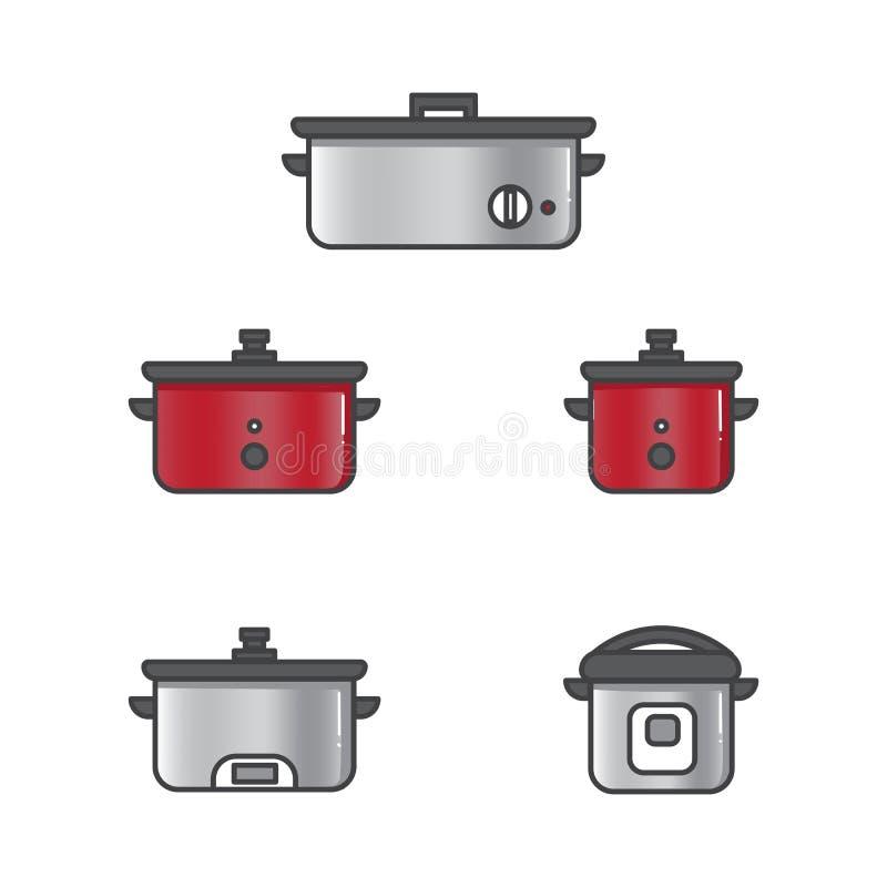 Reeks van vectorillustratie langzaam kooktoestel royalty-vrije illustratie