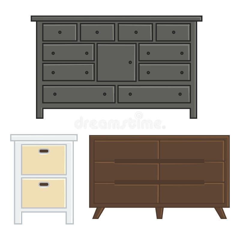 Reeks van vectorillustratielade en kabinet stock illustratie