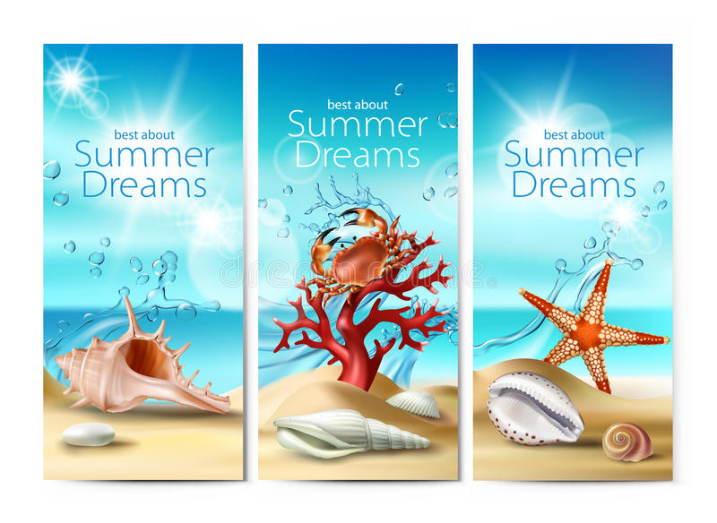 Reeks van vectorillustraties, banners van een de zomer zandig strand met zeeschelpen, kiezelstenen, zeester, krab en koraal royalty-vrije illustratie