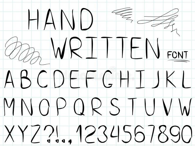 Reeks van vectorlijn eenvoudig doopvont en alfabet vector illustratie