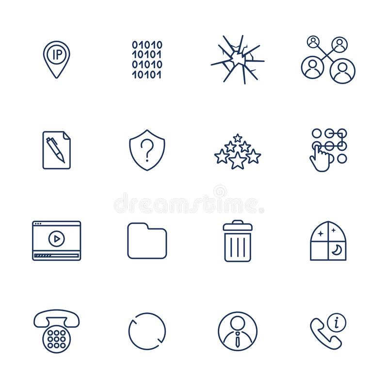 Reeks van 16 vectorpictogrammen voor software, toepassing of websites - sociale media en technologie vector illustratie