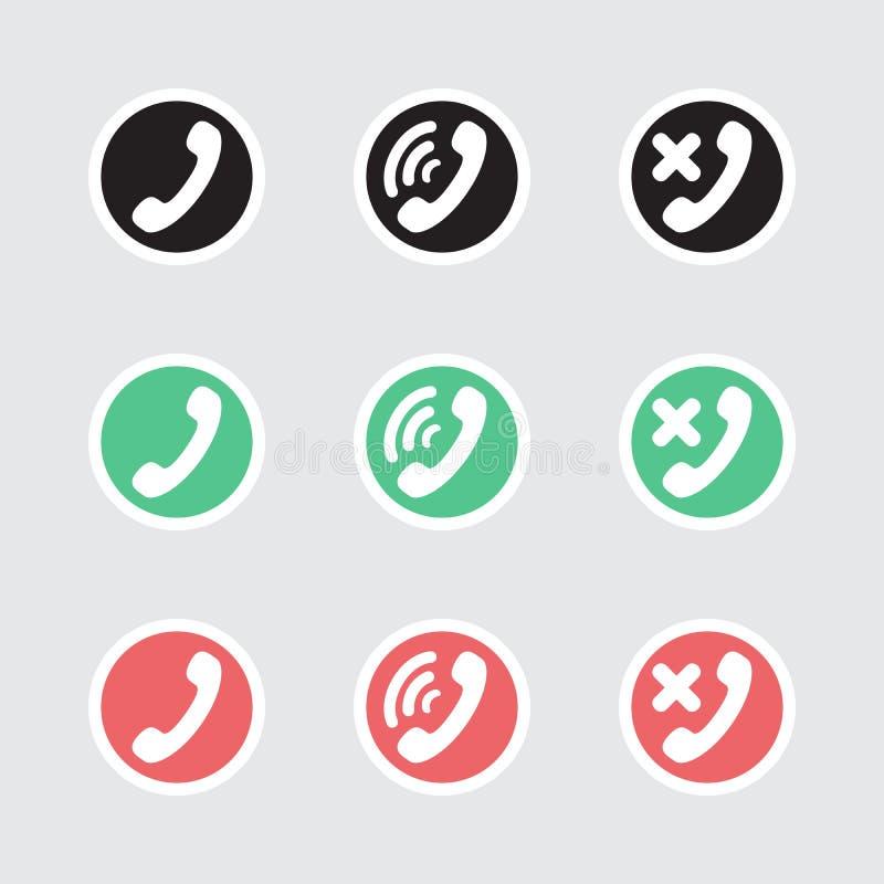Reeks van vectorpictogrammentelefonie stock illustratie