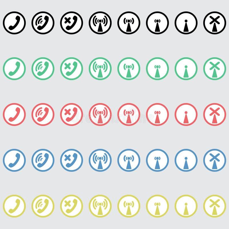 Reeks van vectorpictogrammentelefonie vector illustratie