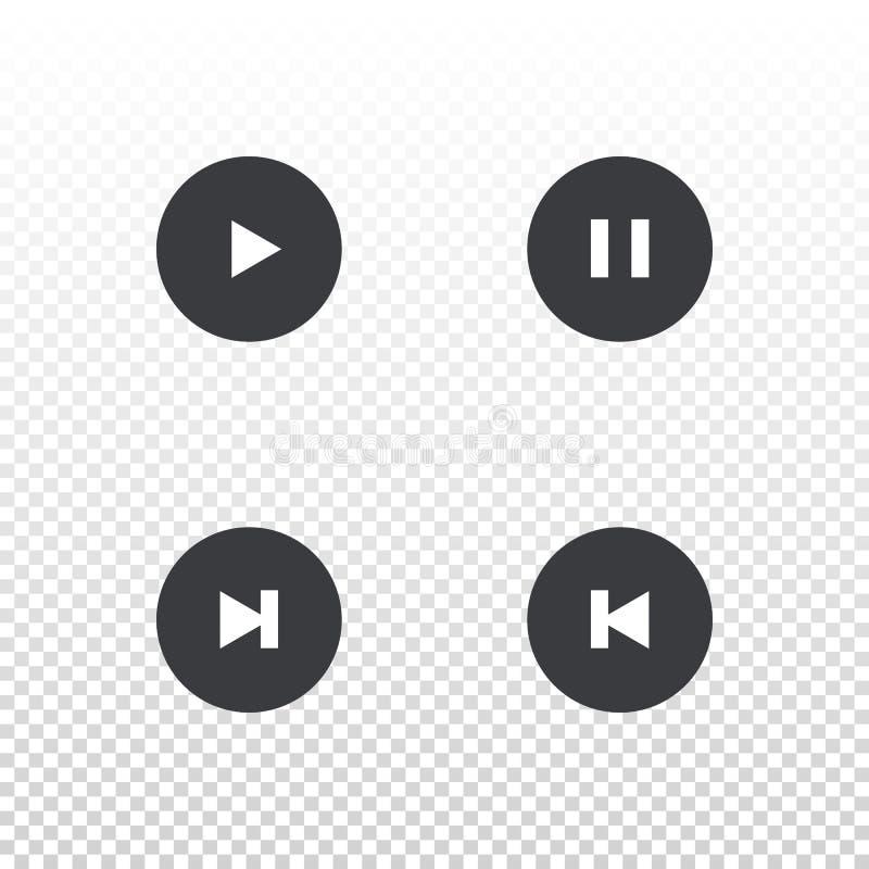 Reeks van vectorspelerknoop Element voor ontwerpmobiele toepassing, website of muziekspeler Het eenvoudige spel van de interfacek royalty-vrije illustratie