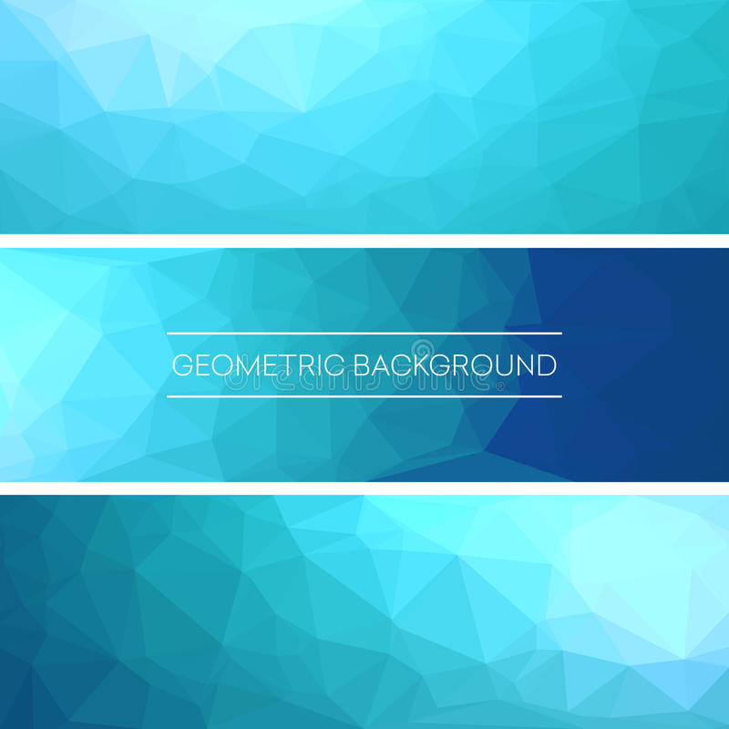 Reeks van veelhoekig driehoekig blauw achtergrondbannersontwerp Vector illustratie stock illustratie