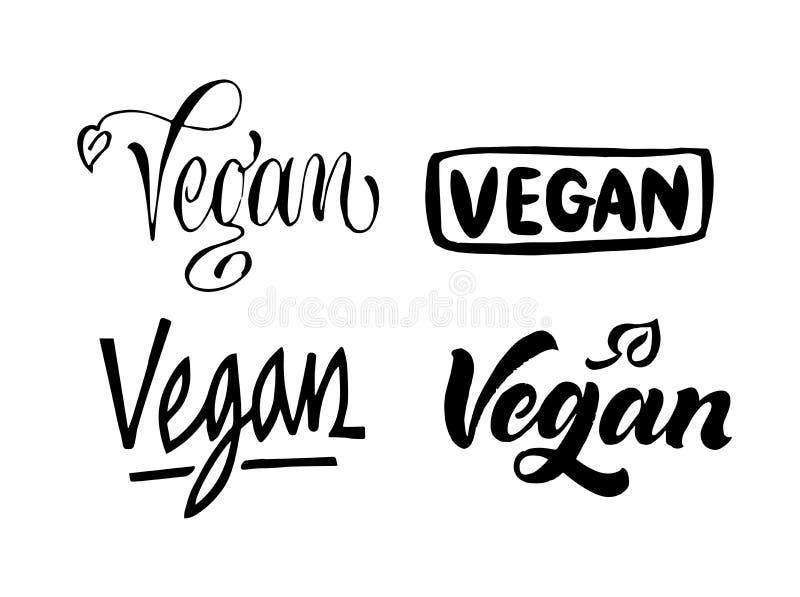 Reeks van veganist het van letters voorzien Hand getrokken kalligrafieinschrijvingen Bru vector illustratie