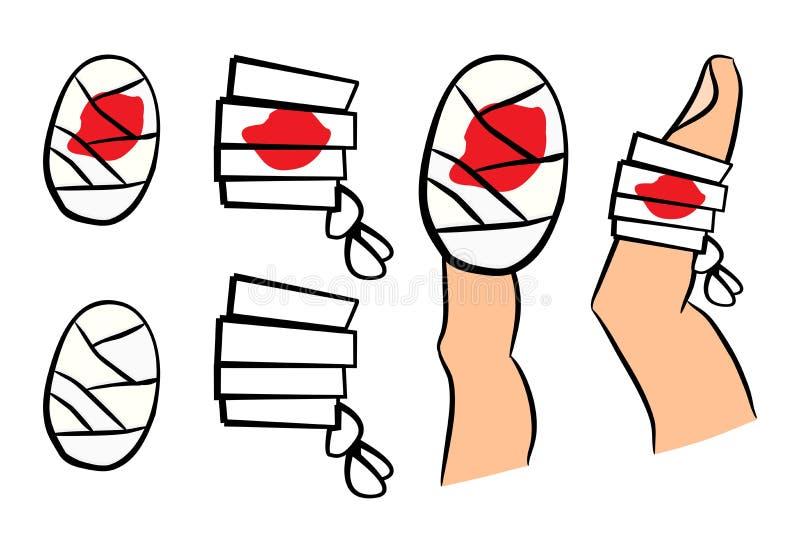 Reeks van verband met rode bloedvulklei De medische apparatuur in verschillende vormen kiest en op vinger uit Vectorillustratie  stock illustratie