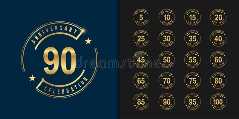 Reeks van verjaardag logotype Gouden het embleemontwerp van de verjaardagsviering voor bedrijfprofiel, boekje, pamflet, tijdschri royalty-vrije illustratie