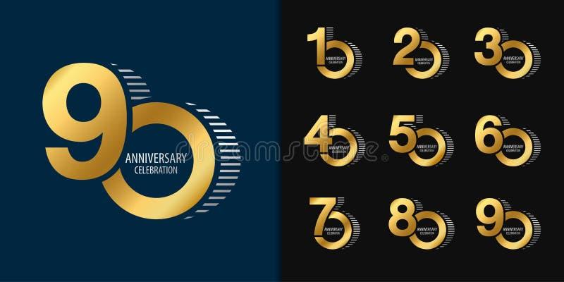 Reeks van verjaardag logotype Gouden het embleemontwerp van de verjaardagsviering voor bedrijfprofiel, boekje, pamflet, tijdschri vector illustratie