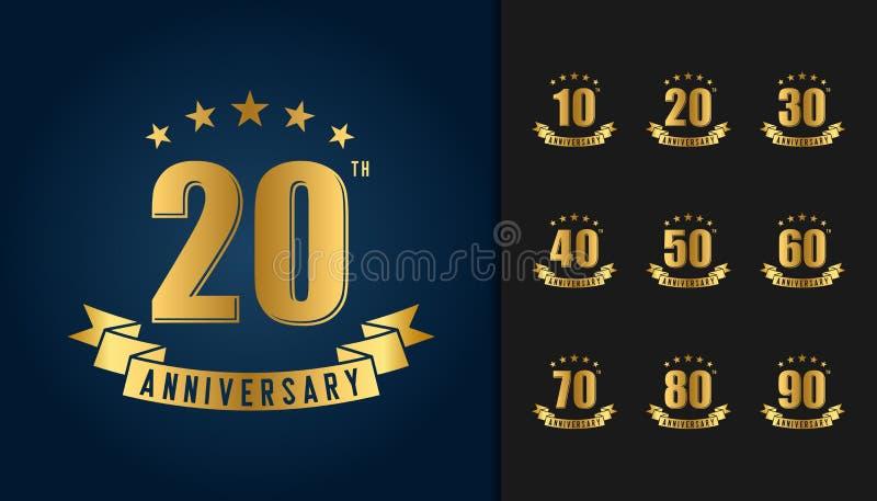 Reeks van verjaardag logotype Gouden verjaardagsviering embl royalty-vrije illustratie