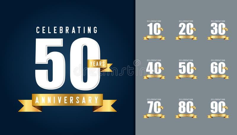 Reeks van verjaardag logotype Het ontwerptemperaturen van de verjaardagsviering vector illustratie