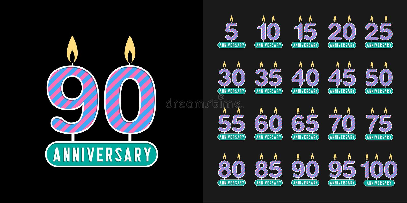 Reeks van verjaardag logotype Verjaardagsviering met het ontwerp van de verjaardagskaars voor bedrijfprofiel, boekje, pamflet, ti vector illustratie