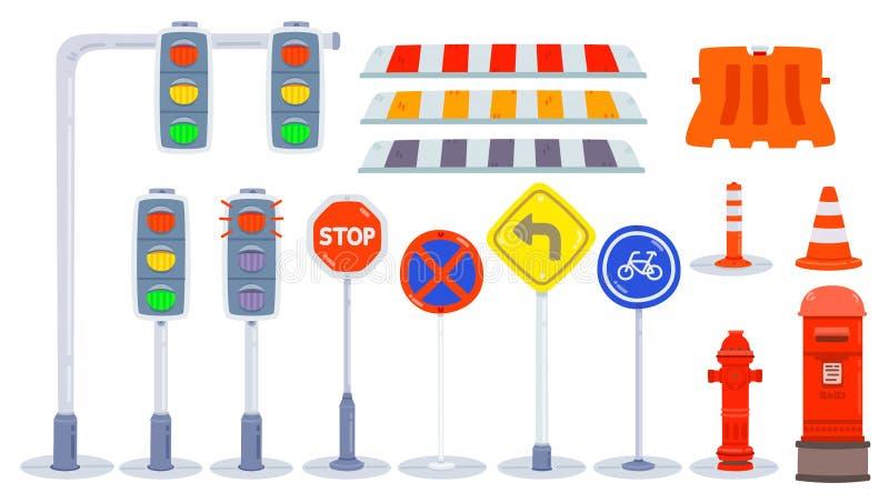 Reeks van verkeerselement, Element van stad/park/weg, verkeerslicht, plastic barrières, verkeerskegels, verkeersteken, verkeerste royalty-vrije illustratie