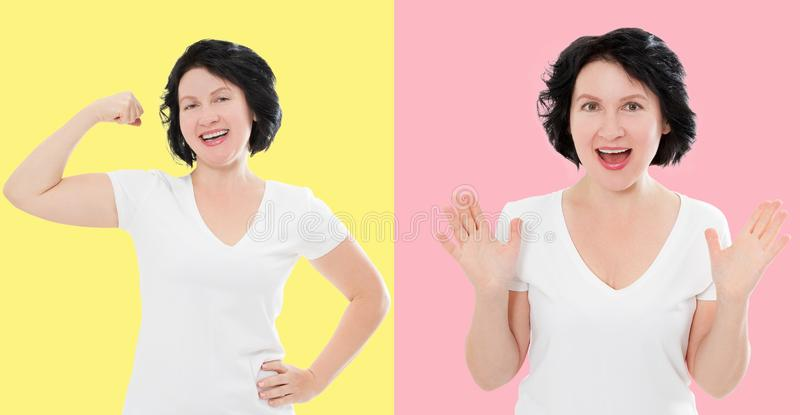 Reeks van verrast geschokt opgewekt Aziatisch die vrouwengezicht op kleurrijke achtergrond wordt geïsoleerd Middenleeftijdswijfje stock afbeelding