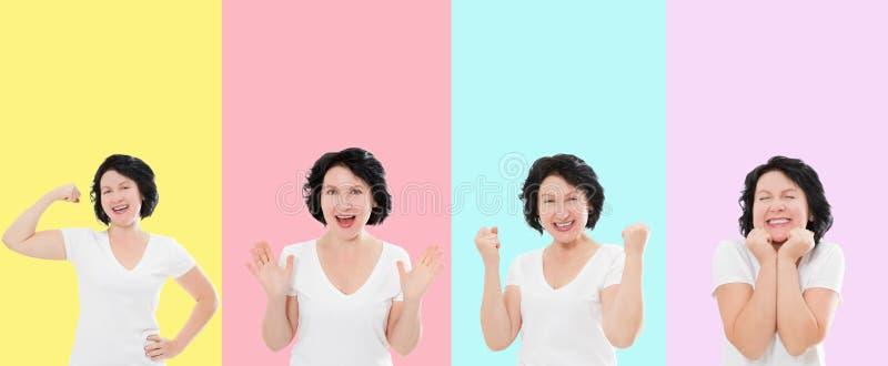 Reeks van verrast geschokt opgewekt Aziatisch die vrouwengezicht op kleurrijke achtergrond wordt geïsoleerd Middenleeftijdswijfje royalty-vrije stock fotografie