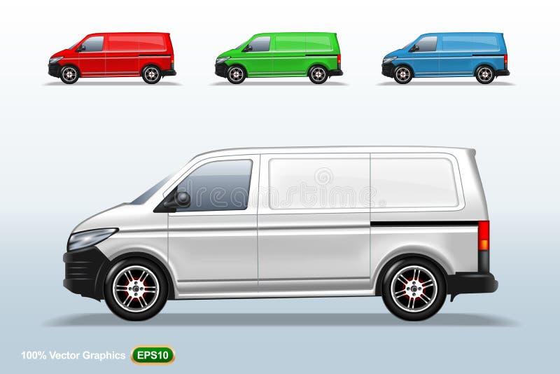 Reeks van verschillend de bestelwagenmalplaatje van de kleurenlevering, editable lay-out stock illustratie